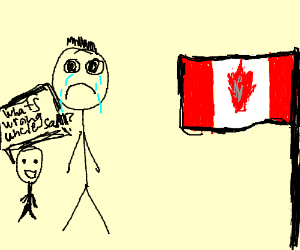 Uncle sam cries looking at canadian flag