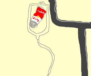 IV bag is full of soup, oh no.