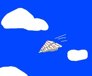 Paper-airplane flies in the sky