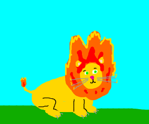 A lion with a mane of fire (Pyroar?)