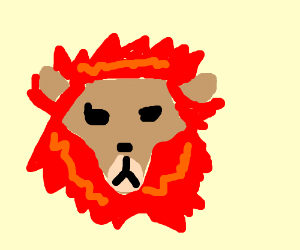 Lion with a mane of fire