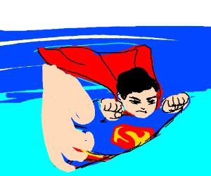 god's hand helps superman fly