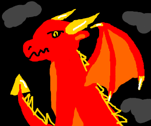 Majestic Red Dragon with yellow Horns