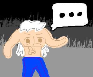 A headless white haired man w/ a text box
