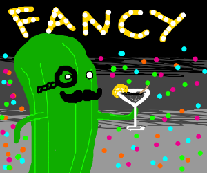 Fancy pickle having a cocktail