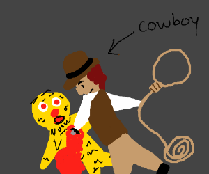Cowboy putting a knife trough Yellmo's heart
