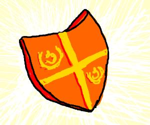 an orange shield