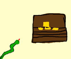 green snake looks at treasure