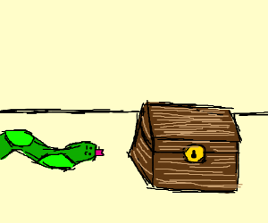snek looking at a chest