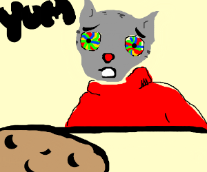 Psychedelic cat has a cookie