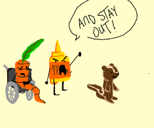 Deaf carrot and mistard fires chipmunk