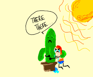 Lonely sunburned man hugging cactus