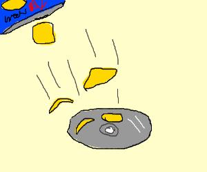 Dropped chip potatos in CD/DVD