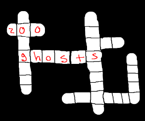 Crossword puzzle with ghosts and zoo