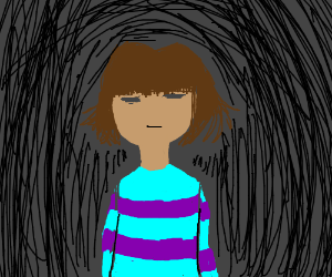 many black lines surrounding Frisk (Undertale)