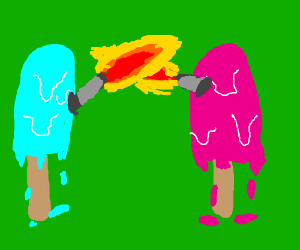 Popsicles have a flaming sword battle