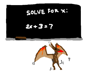 Dinosaur bird can't reach blackboard in school