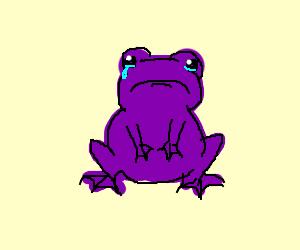 Sad purple frog