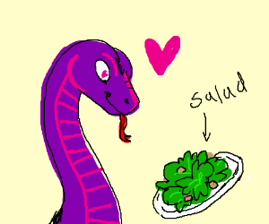 purple snake loves salad