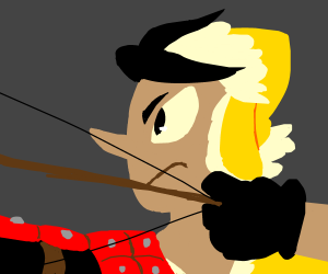 Archer aims and prepares to fire.