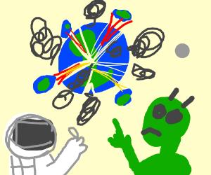 An astronaut and an alien watch Earth explode