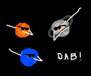 planets in space are dabbing