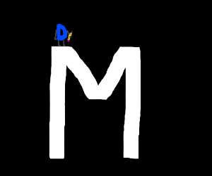 Draw fee logo standing on giant M