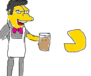 moe from the simpsons with pacman