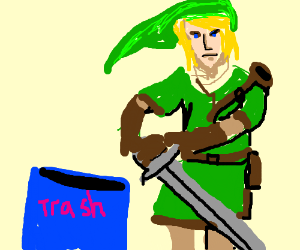 Link unimpressed with his sword