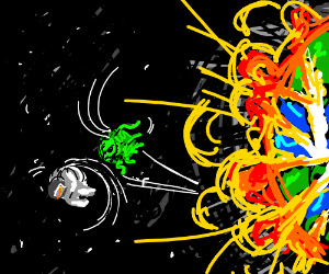 astronaut and alien flip off exploding earth