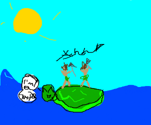 tribal men on a turtle island