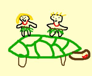 Blonde Hawaiian mini people riding a tortoise