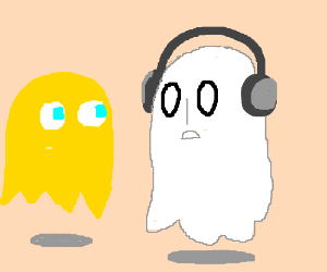Napstablook (UT) and Clyde (Pacman) hang out.