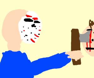 jason killing a dude with an axe