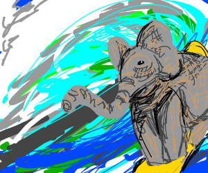 an elephant surfing. somehow.