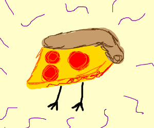 A pizza slice with legs