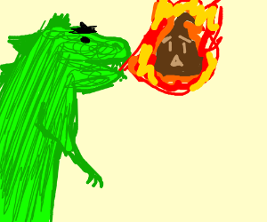 Godzilla breaths flaming crap