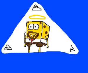 A SpongeBob uliminati with beard is god