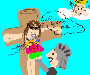 Crucified Jesus makes a wish to God