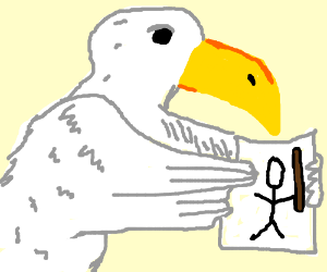 dapper gull holds a rudimentary drawing of a primative-warrior