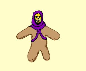 gingerbread man with skelletor face