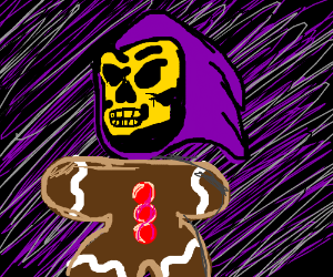 Skeletor with a gingerman body