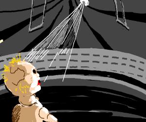 creepy doll sees a light in a dark circus