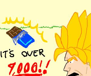 Saiyan checks power level of shiny chocolate