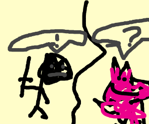Humans vs. pink cat war