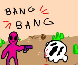 pink alien shoots ghost in desert
