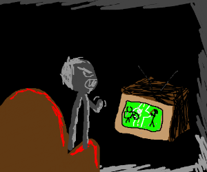 Angry Man Watching TV