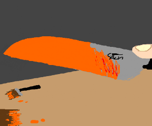 A knife painted orange to look glowing hot