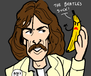 George Harrison holds a menacing banana
