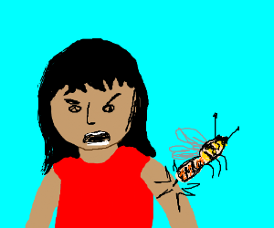 Queen bee stings a girl